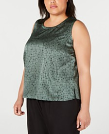 Eileen Fisher Plus Size Printed Silk Top