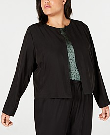 Plus Size Tencel Polyester Open-Front Jacket