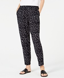 Eileen Fisher Organic Cotton Tapered Printed Pants, Regular & Petite