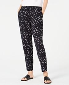 Eileen Fisher Organic Cotton Tapered Printed Pants, Regular & Petite