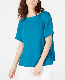 Eileen Fisher Textured Organic Cotton Top, Regular & Petite