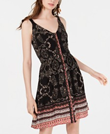 American Rag Juniors' Printed Button-Front Sun Dress, Created for Macy's