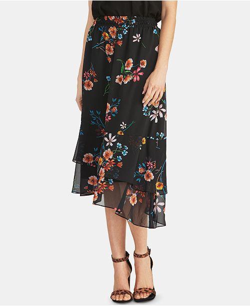 251288512 ... RACHEL Rachel Roy Diletta Floral Ruffled Asymmetrical Skirt ...