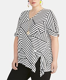 RACHEL Rachel Roy Trendy Plus Size  Striped Asymmetrical Top
