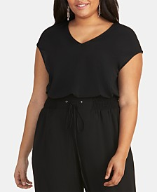 RACHEL Rachel Roy Bina Trendy Plus Size  Cropped V-Neck Top