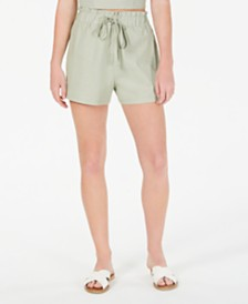 Gypsies & Moondust Juniors' High-Rise Linen-Blend Shorts