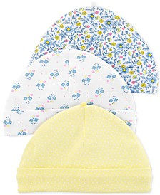 Carter's Baby Girls 3-Pk. Floral-Print Cotton Caps