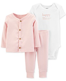 Baby Girls 3-Pc. Happy Cardigan, Bodysuit & Pants Set