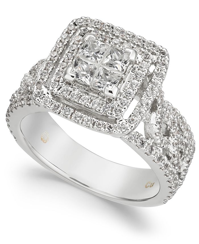 Macy's - Diamond Quad Cluster Openwork Engagement Ring (1-3/8 ct. t.w.) in 14k White Gold