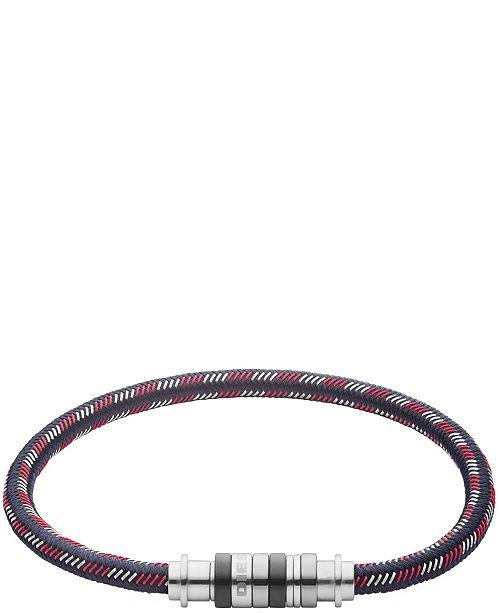 Diesel Men's Stainless Steel and Nylon Cord Bracelet