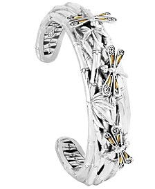 Sweet Dragonfly Bamboo Sterling Silver Cuff Embellished by 18K Gold Accents on 4 Strips of Dragonfly's Wings
