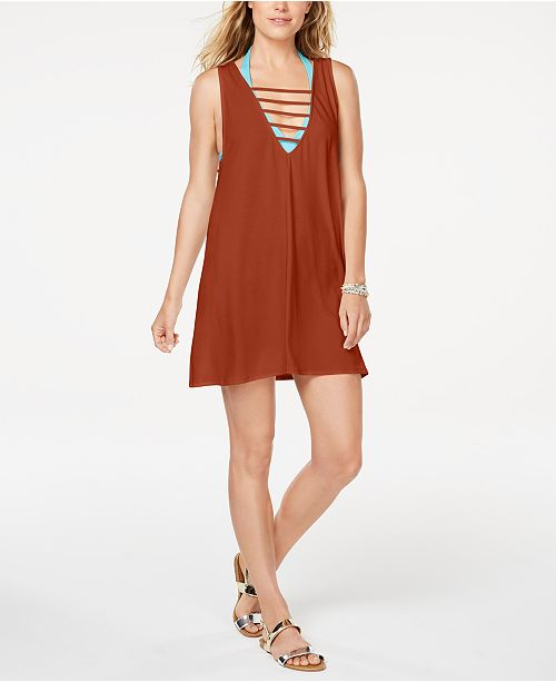 California Waves Juniors' Lattice Cover-Up Dress, Created for Macy's