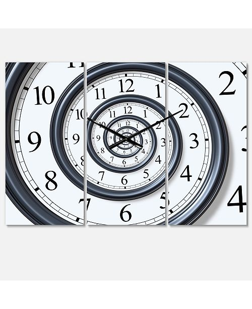 Design Art Designart Modern and Contemporary 3 Panels Metal Wall Clock