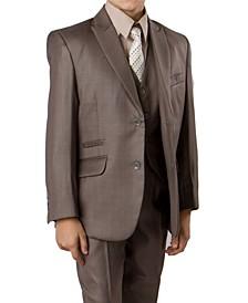 Solid Slanted Pocket 2 Button Front Closure Boys Suit 5 Piece