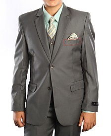Solid 2 Button Vested Boys Suit 5 Piece