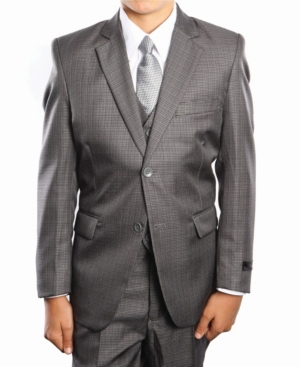 Glen Plaid 2 Button Front Closure Boys Suit 5 Piece