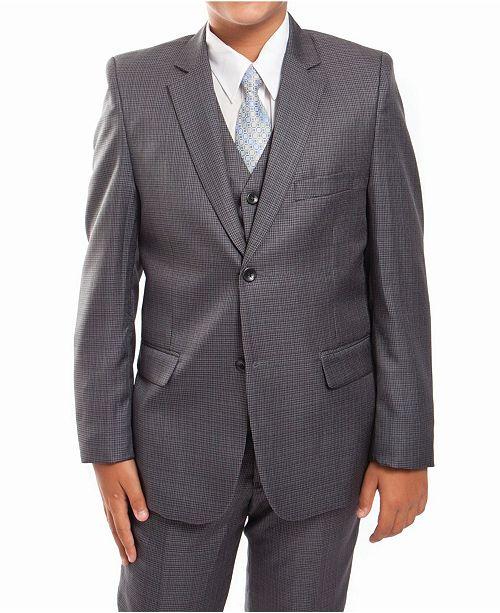 Tazio Glen Plaid 2 Button Front Closure Boys Suit 5 Piece