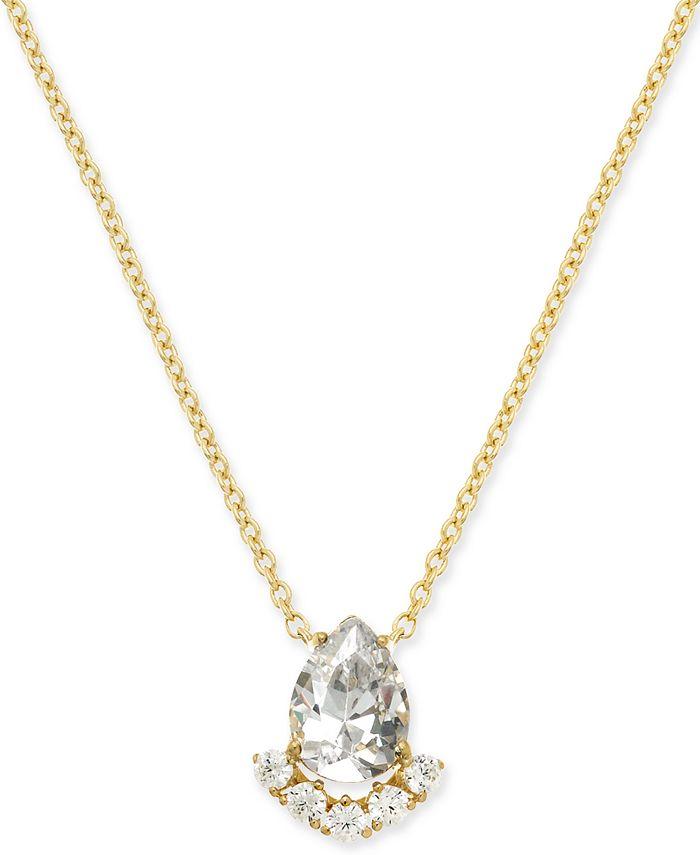 Eliot Danori - Gold-Tone Teardrop Crystal Cluster Pendant Necklace