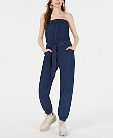 Juniors' Strapless Jumpsuit