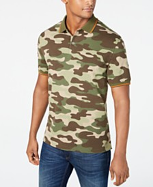 Club Room Men's Tipped Collar Camo Polo, Created for Macy's
