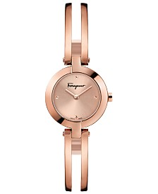 Ferragamo Women's Swiss Miniature Rose-Gold Stainless Steel Bracelet Watch 26mm