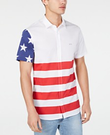 A|X Armani Exchange Men's Regular-Fit Stretch Colorblocked Stars & Stripes Shirt Created For Macy's