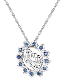 "Sapphire Mother & Child 18"" Pendant Necklace (3/8 ct. t.w.) in 14k White Gold"