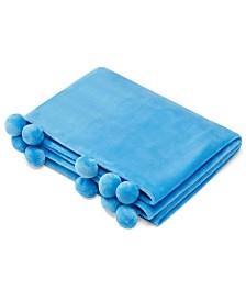 Azalea Skye Salma Pom Pom Turquoise Ultra Soft Plush Throw