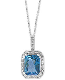 "EFFY® Blue Topaz (2-5/8 ct. t.w.) & Diamond (1/10 ct. t.w.) 18"" Pendant Necklace in 14k White Gold"