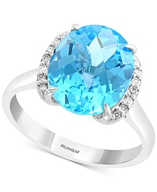 EFFY® Blue Topaz (4-7/8 ct. t.w.) & Diamond Accent Statement Ring in 14k White Gold
