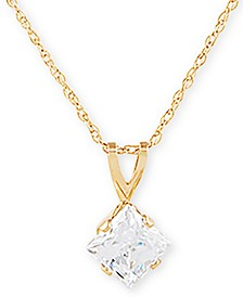 "Swarovski Cubic Zirconia 18"" Pendant Necklace in 14k Gold"