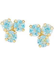 Blue Topaz Cluster Stud Earrings (1 ct. t.w.) in 14k Gold