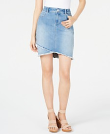 I.N.C. Petite Frayed Petal-Hem Denim Skirt, Created for Macy's