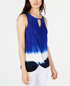 I.N.C. Petite Tie Dye Keyhole Top, Created for Macy's