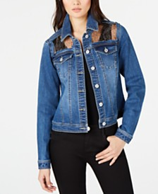 I.N.C. Leopard-Trim Jean Jacket, Created for Macy's