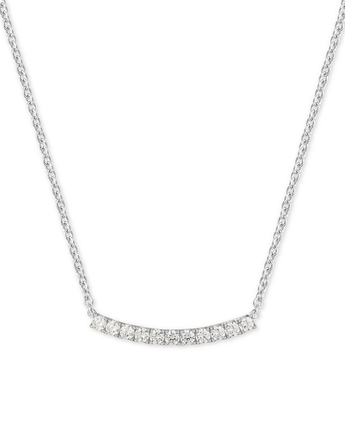 """Macy's - Cubic Zirconia Curved Bar 18"""" Pendant Necklace in Sterling Silver"""