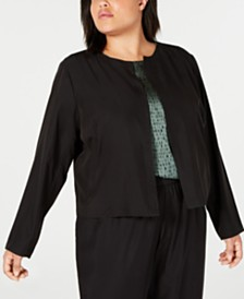 Eileen Fisher Plus Size Open-Front Jacket & Draped Cropped Pants