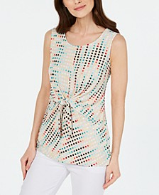 Printed Sleeveless Tie-Front Top, Created for Macy's