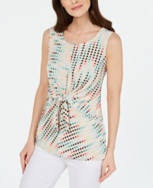 Alfani Printed Sleeveless Tie-Front Top, Created for Macy's