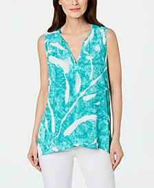 Petite Printed High-Low Crossover Top, Created for Macy's