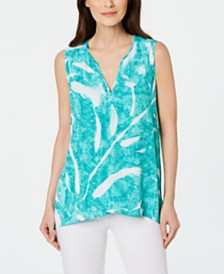 Alfani Petite Printed High-Low Crossover Top, Created for Macy's