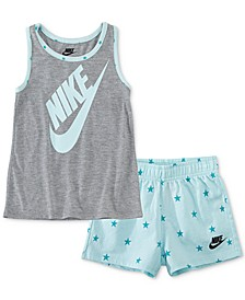 Little Girls 2-Pc. Star Futura Logo Tank & French Terry Shorts Set