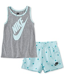Nike Little Girls 2-Pc. Star Futura Logo Tank & French Terry Shorts Set