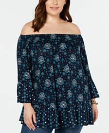Style & Co Plus Size Off-The-Shoulder Peasant Top, Created for Macy's