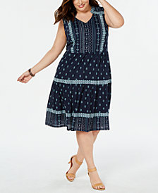 Style & Co Plus Size Printed Drop-Waist Dress, Created for Macy's