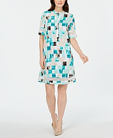 Square-Print Crochet-Trim Shirtdress, Created for Macy's