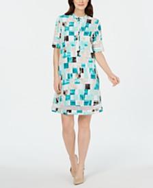 Alfani Square-Print Crochet-Trim Shirtdress, Created for Macy's