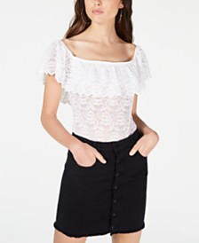 GUESS Rionna Off-The-Shoulder Lace Bodysuit