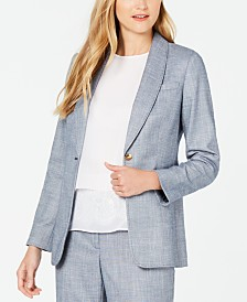 Calvin Klein One-Button Shawl-Collar Blazer