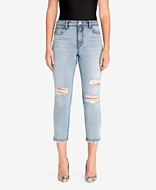 Skinny Girl High-Rise Straight Crop Distressed Jeans